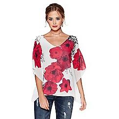 Quiz - Cream and pink floral print cold shoulder top
