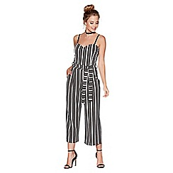 Quiz - Black and white stripe tie belt cullotte jumpsuit