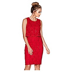 Quiz - Red sequin lace double layer knee length dress