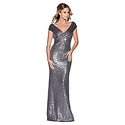 Quiz - Grey sequin cross front bardot maxi dress