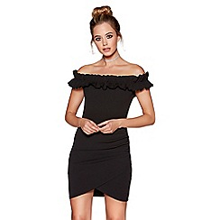 Quiz - Black frill detail bardot dress