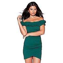 Quiz - Bottle green frill detail bardot dress