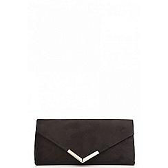 Quiz - Black faux suede clutch bag