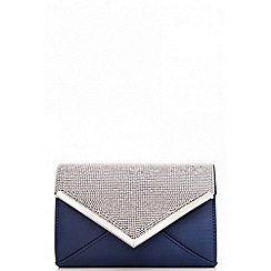 Quiz - Navy satin diamante clutch bag