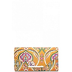 Quiz - Mustard floral clutch bag