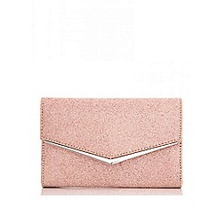 Quiz - Rose gold glitter clutch bag