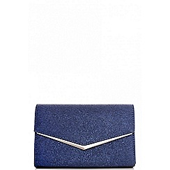 Quiz - Navy glitter envelope clutch bag