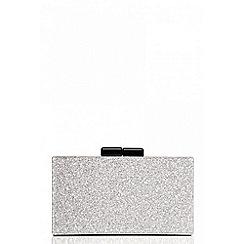 Quiz - Silver glitter box clutch bag