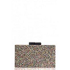 Quiz - Multi glitter box clutch bag