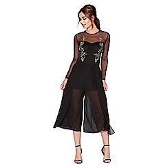 Quiz - Black chiffon split front elastic waist culottes