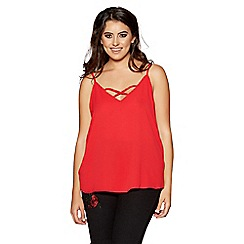 Quiz - Curve red cross front cami top