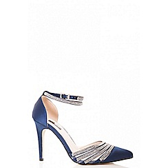 Quiz - Navy diamante strap point court shoes