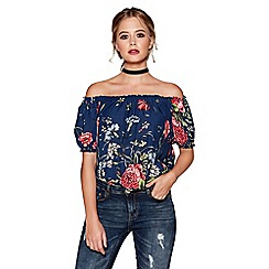 Quiz - Navy floral print bardot bubble hem top