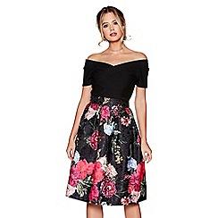 Quiz - Black floral jacquard print skirt