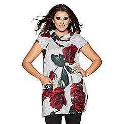 Quiz - Curve grey light knit rose print tunic dress