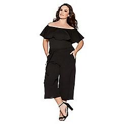 Quiz - Curve black bardot frill bodysuit