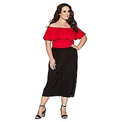 Quiz - Curve red bardot frill bodysuit