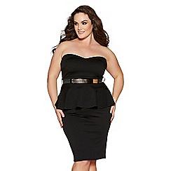 Quiz - Curve black strapless peplum midi dress