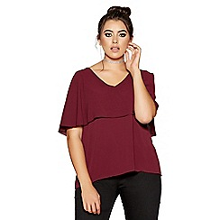 Quiz - Curve berry cepe v-neck cape detail top