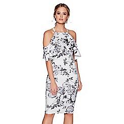 Quiz - Cream and grey floral print cold shoulder midi dress