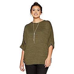 Quiz - Curve khaki light knit batwing necklace top