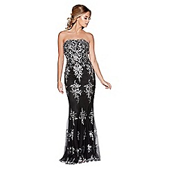 Quiz - Black and silver embellished strapless fishtail maxi dress
