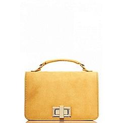 Quiz - Mustard faux suede satchel bag