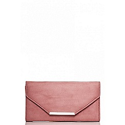 Quiz - Terracotta faux suede clutch bag