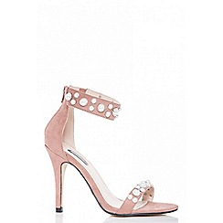 Quiz - Nude pearl detail barely there heeled sandals