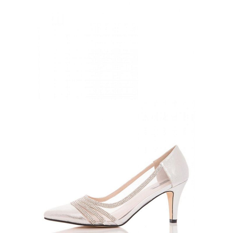 Quiz Silver diamante and mesh mid heel court shoes
