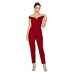 Quiz - Berry bardot tie waist jumpsuit