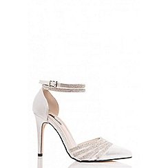 Quiz - Silver diamante strap pointed court shoes