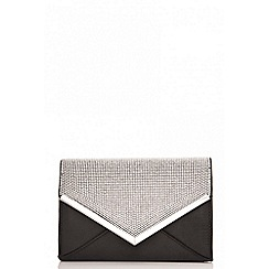 Quiz - Black diamante detail clutch bag