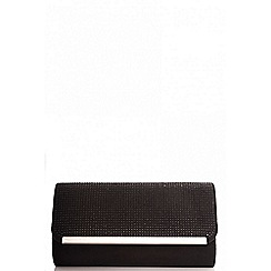 Quiz - Black faux suede diamante clutch bag