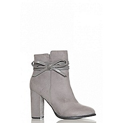 Quiz - Grey faux suede bow detail ankle boots