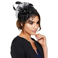 Quiz - Black jewel feather fascinator