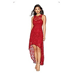 Quiz - Berry sequin lace dip hem dress