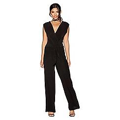 Quiz - Black v-neck pleated jumpsuit
