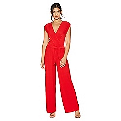 Quiz - Red v-neck pleated jumpsuit