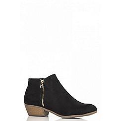 Quiz - Black faux suede zip detail boots