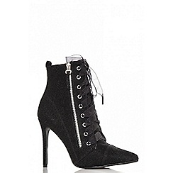 Quiz - Black textured lace up pointed shoe boots
