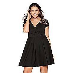 Quiz - Curve black lace sleeves wrapover skater dress