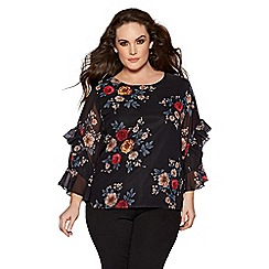 Quiz - Curve black floral print frill sleeves box top