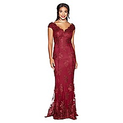 Quiz - Berry lace embellished fishtail maxi dress