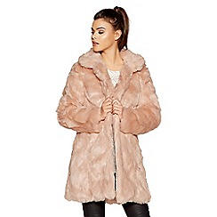 Quiz - Blush faux fur collar coat