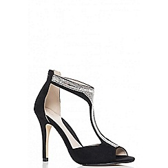 Quiz - Black embellished t-bar sandals