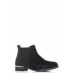 Quiz - Black diamante embellished ankle boots