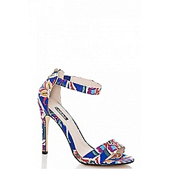 Quiz - Blue floral print barely there heel sandals