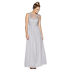 Quiz - Grey embellished bodice high neck maxi dress