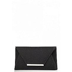 Quiz - Black textured clutch bag